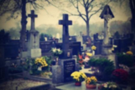 christian halloween: Cemetery blurred background. Halloween