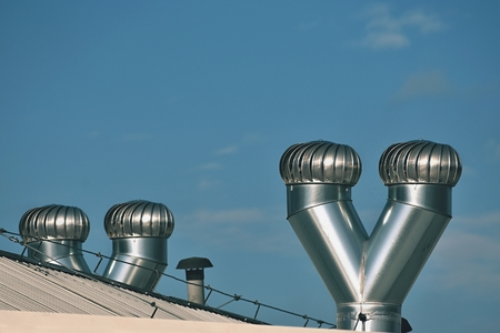Ventilation and air conditioning on the roof of the house