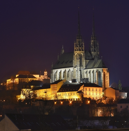 Night Photography. Petrov - St. Peters and Paul church in Brno city.Urban old architecture. Central Europe Czech Republic. Stock Photo