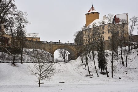 Winter landscape with a beautiful Gothic castle Veveri. Brno city - Czech Republic - Central Europe.