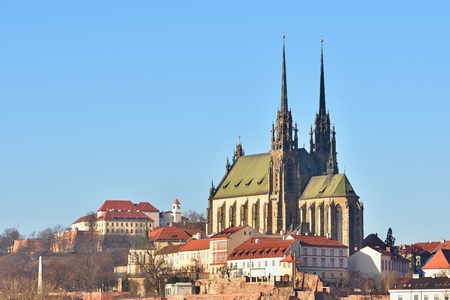 moravia: Brno - Czech Republic - Europe. Photo architectures sun and blue skies. Temple Petrov and Spilberk Castle.