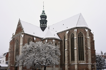 Beautiful old temple-church. Basilica of the Assumption. Virgin Mary. Brno Czech Republic. (Basilica minor) Winter landscape - frosty trees.