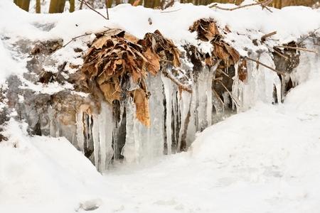 michigan snow: frozen creek. Beautiful winter seasonal  background in nature. Stock Photo