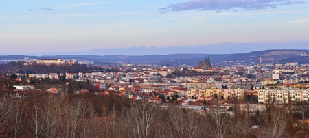 The city of Brno, Czech Republic-Europe. Top view of the city with monuments and roofs. panorama photo Stock Photo