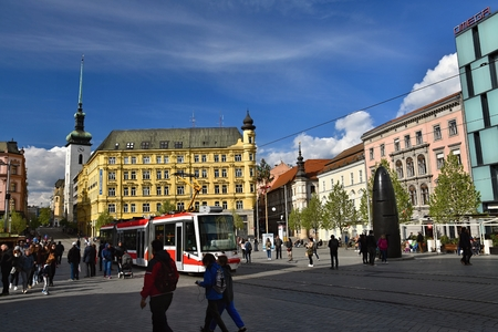 April 16, 2017, the city of Brno - Czech Republic - Europe. City Center - Freedom Square. The plague column (Marian) and the Brno clock - astronomical clock.