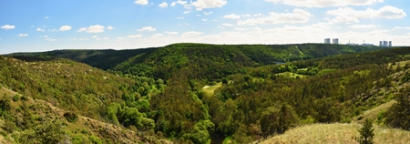 Mohelens horseshoe step. Landscape with forests and nuclear power plant Dukovany. Panoramic photo.