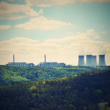 dukovany: Nuclear power plant Dukovany. Czech Republic, Europe. Landscape with forests and valleys.