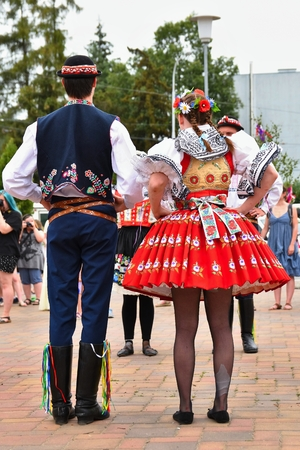 historical events: Brno, Czech Republic June 25, 2017. Czech traditional feast. Tradition folk dancing and entertainment.