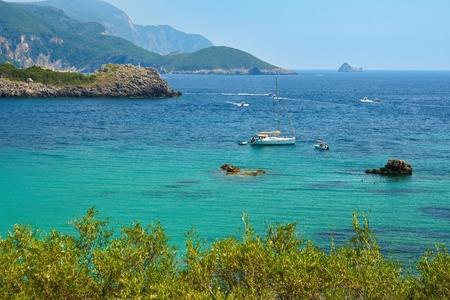Beautiful Paleokastrica beach landscape on Corfu, Kerkyra, Greece. Beautiful colorful island for summer holidays and travel. Stock Photo