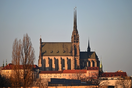 Petrov. Cathedral of Saints Peter and Paul in Brno old city in the Czech Republic in winter. Europe. Redakční