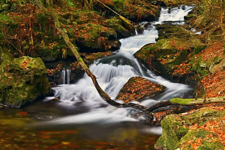 Beautiful colorful background with river and stones in autumn time. White Opava Waterfalls - Jeseniky Mountains - Czech Republic.