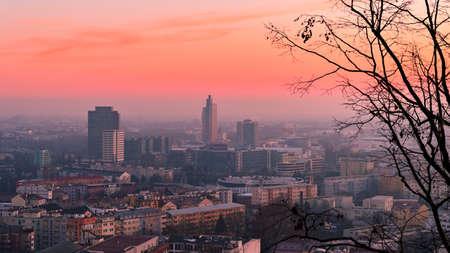 Brno, Czech Republic, January 2, 2020. The city of Brno, Czech Republic-Europe. Top view of the city with monuments and roofs. 版權商用圖片