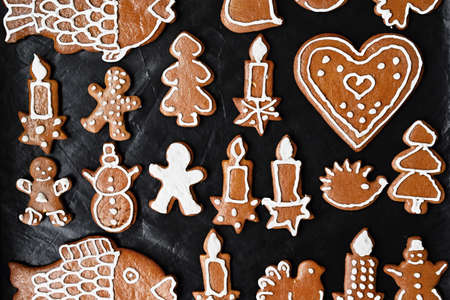 Christmas homemade gingerbread cookies. Festive concept with baking on Christmas time.