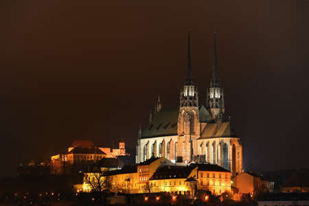 Petrov, Cathedral of St. Peter and Paul. City of Brno - Czech Republic - Europe. Night photo of beautiful old architecture. Editorial