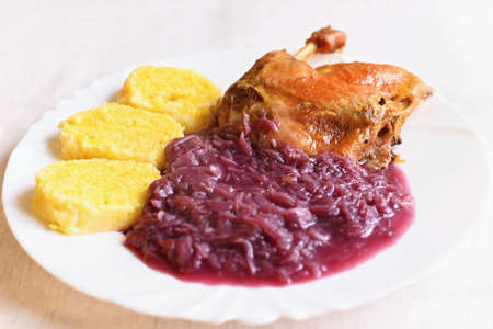 Traditional Czech homemade holiday food. Roast duck with cabbage and potato dumplings.