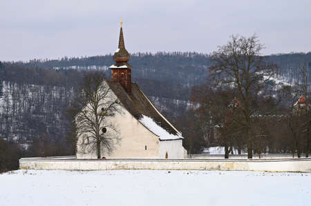 Winter landscape. Beautiful chapel near Czech Republic city of Brno. The Chapel of the Mother of God.