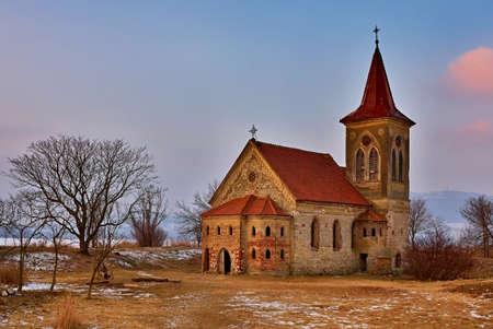 Beautiful old church of St. Linhart. Catholic temple village of Musov - Pasohlavky, Czech Republic. Dam New Mills (Nove Mlyny)