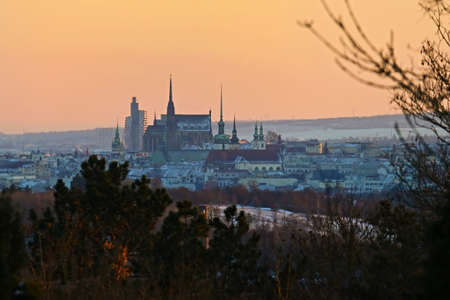 The city of Brno, Czech Republic-Europe. Top view of the city with monuments and roofs. Stok Fotoğraf