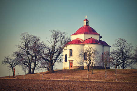 Chapel of the Holy Trinity - Beautiful small chapel on the hill at sunset. Rosice - Czech Republic. Stok Fotoğraf