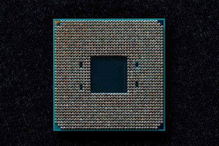 Processor to the computer. Concept for technology and computing. Detail of connectors. CPU Chip Processor for tech science background. Banco de Imagens - 166647352