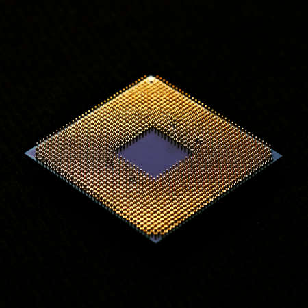 Processor to the computer. Concept for technology and computing. Detail of connectors. CPU Chip Processor for tech science background. Banco de Imagens - 166647359