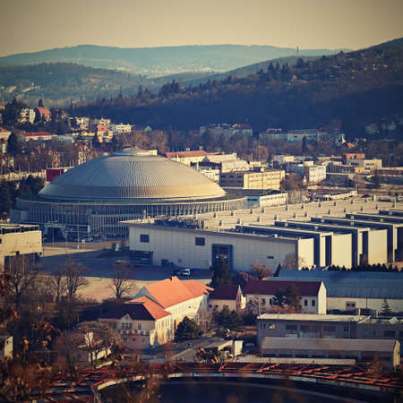 Czech republic, Brno Exhibitions Center BVV - (BVV Fairs) on the cityscape taken from the hill. Europe.