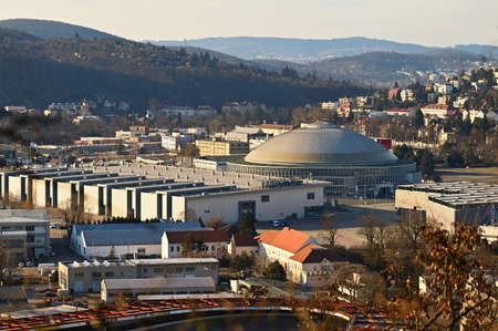 Czech republic, Brno Exhibitions Center BVV - (BVV Fairs) on the cityscape taken from the hill. Europe. Banco de Imagens - 166558392