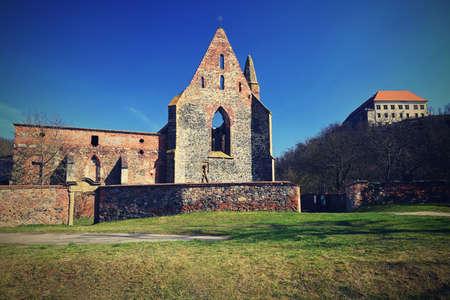 Rosa Coeli修道院。妇女修道院古老天主教废墟在Dolni Kounice  - 捷克共和国附近。社论