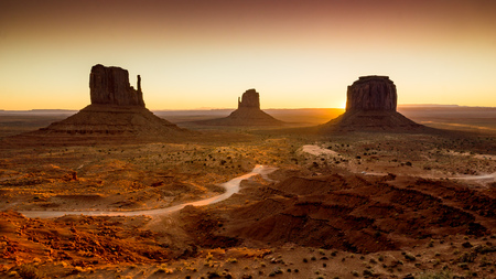 the sun just startet to rise in iconic Monument Valley on the boarder of Arizona and Utah.