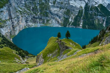 two fir trees hight above the turquoise Lake Oeschinensee near Kandersteg