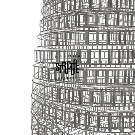 parametric: Grunge parametric background. Abstract broken architectural structure Illustration