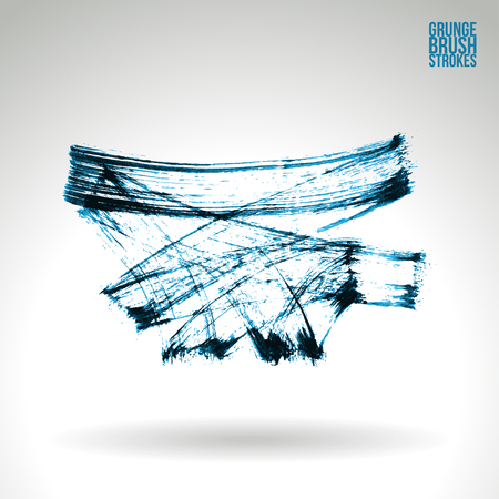 dabs: Brush stroke and texture. Grunge vector abstract hand - painted element. Underline and border.