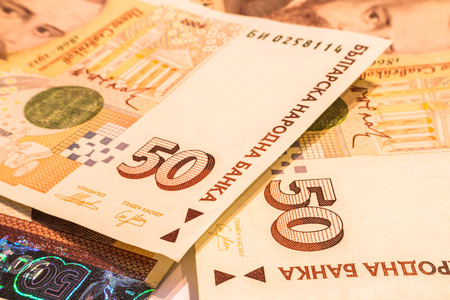 valorization: 50 BGN BG bulgarian bills Leva close-up Stock Photo