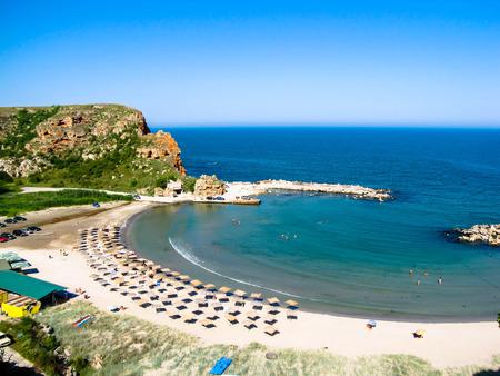 Bolata strand, in de buurt van Kaap Kaliakra, van bovenaf gezien, Bulgarije