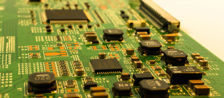 electronic circuit close-up. Macro background Standard-Bild