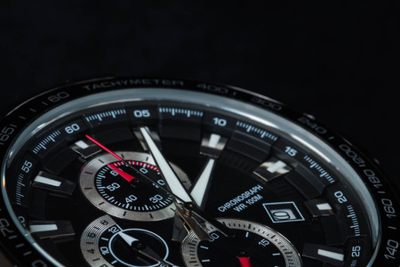 chronograph: luxury man accessory watch detail, chronograph macro