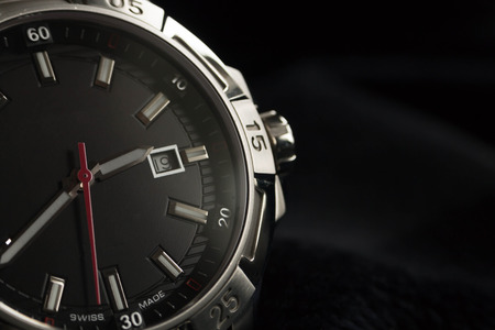 watch: luxury man accessory watch detail, chronograph macro