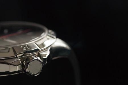 estuche: hombre lujo detalle reloj accesorio, cron�grafo macro Foto de archivo