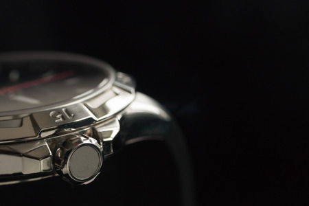 luxury man accessory watch detail, chronograph macro photo