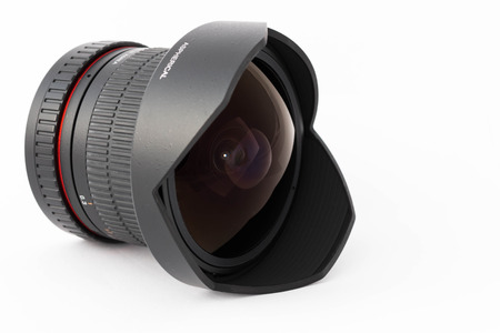 fisheye: Camera lens details close-up Stock Photo