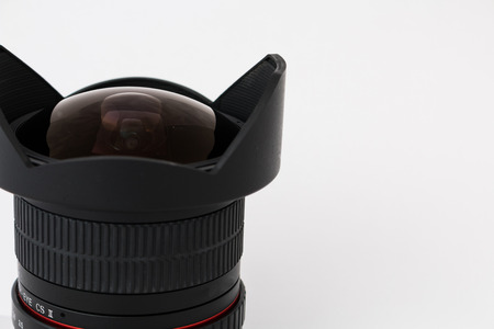 light reflex: Camera lens details close-up isolated Stock Photo