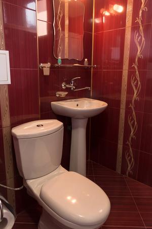 luxury bathroom: luxury bathroom design in burgundy color with golden ornaments Stock Photo