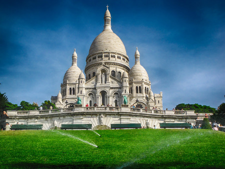 Sacre Coeur in Paris France  on a sunny summer day photo
