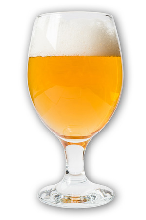 draught: glass of beer on a white background
