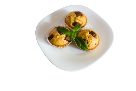 fresh baked muffins with clipping path photo