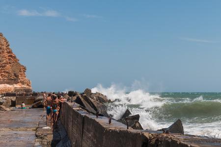 big waves: Big waves break on the  tourists, beach Bolata, Bulgaria