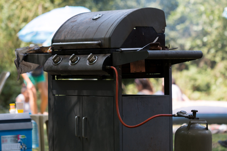 gas barbecue grill close-up