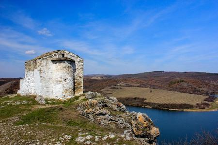 Medieval chapel on the Pchelina dam, Bulgaria Stock Photo