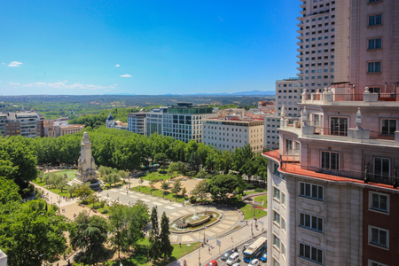 View from high to Plaza de Espana, Madrid Stock Photo