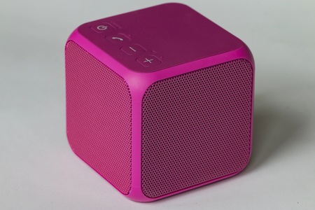 Pink   speaker cube close-up